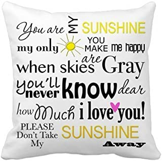 Decorbox You Are My Sunshine Quote Pattern 18x18 Inch Polyester Cotton Square Throw Pillow Case Decorative Durable Cushion Slipcover Home Decor Standard Size Accent Pillowcase Encasement Slip Cover