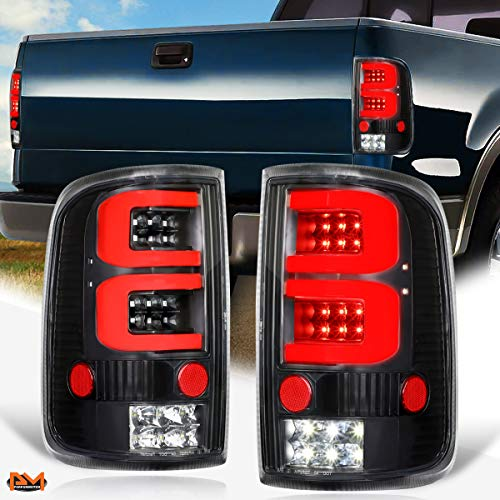 Compatible with Ford F-150/Lobo 04-08 Dual Red 3D LED C-Tube Bar Tail Light Brake Lamp Black