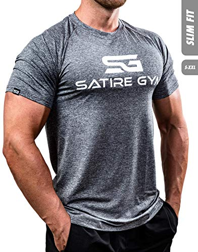 Satire Gym Fitness T-Shirt Herren - Funktionelle Sport Bekleidung - Geeignet Für Workout, Training - Slim Fit (L, grau meliert)
