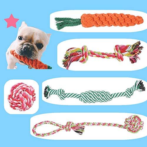 BUYGOO 5 Piezas Juguete de Cuerda para Perro no Tóxico e Insípido Masticar Cuerdas Algodón para Cuidado Dental Durable