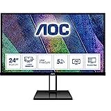 AOC 24V2Q - 24 Inch FHD Monitor, 75Hz, 5ms, IPS, AMD FreeSync, Ultra Slim, FlickerFree, LowBlue mode (1920 x 1080 @ 75Hz, 250cd/m², HDMI 1.4 x 1, DisplayPort 1.2 x 1)