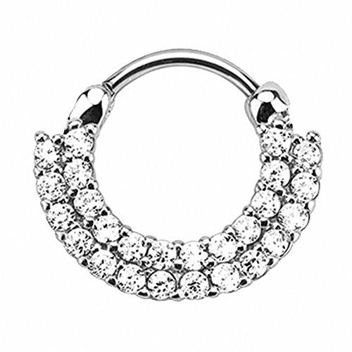 Piercingfaktor Universal Piercing Septum auch für Tragus Helix Ohr Nase Lippe Brust Intim - Schild Clicker Ring mit Kristall Silber Clear Weiß