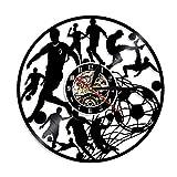 FUTIIF 1 Pièce Joueurs De Football Kick Ball Net But Silhouette LED Rétro-Éclairage Disque Vinyle Horloge Murale Football Équipe Groupe Sport Décoratif avec LED
