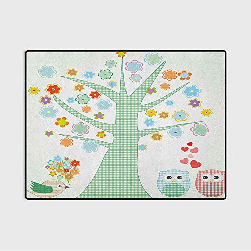 Nursery Super Soft Indoor Modern Shag Area Silky Smooth Rugs Romantic Owls in Love and Big Tree with Colorful Blossoms Bird Bouquet Best Gifts for Women 2020 Mint Green Multicolor 6.5 x 9.8 Ft