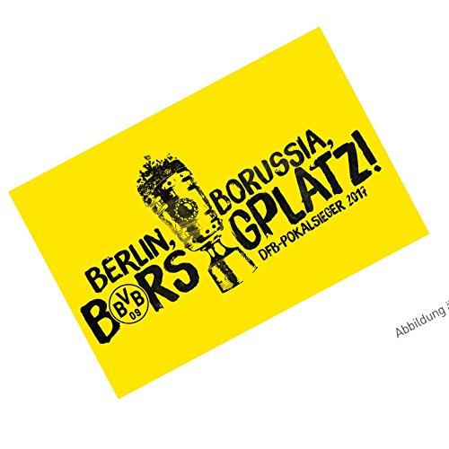 Borussia Dortmund Fahne/Flagge/Schwenkfahne/Flag/Stockfahne DFB-Pokalsieger 2017 BVB 09 - Plus gratis Aufkleber Forever Dortmund