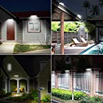 Solar Lights Outdoor Motion Sensor, JESLED 90 LED Solar Powered Exterior Security Light, 6000K, 3 Modes Waterproof Flood Lights for Yard Patio Garage, Dusk to Dawn, USB Charging & Battery Replaceable