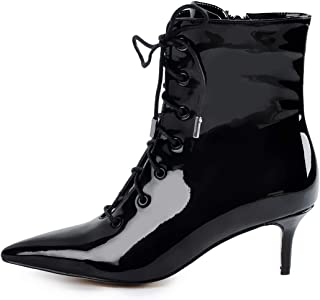 Women's Kitten Low Heel Ankle Bootie Pointed Toe Lace Up Comfortable Walking Boots