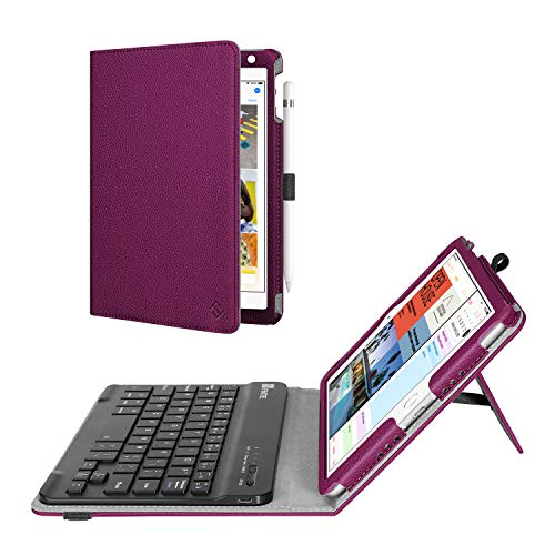 Fintie Keyboard Case for Mini 5th Gen 2019 / iPad Mini 4 - [Corner Protection] PU Leather Folio Stand Cover w/Pencil Holder, Removable Wireless Bluetooth Keyboard for iPad Mini 5 / Mini 4, Purple