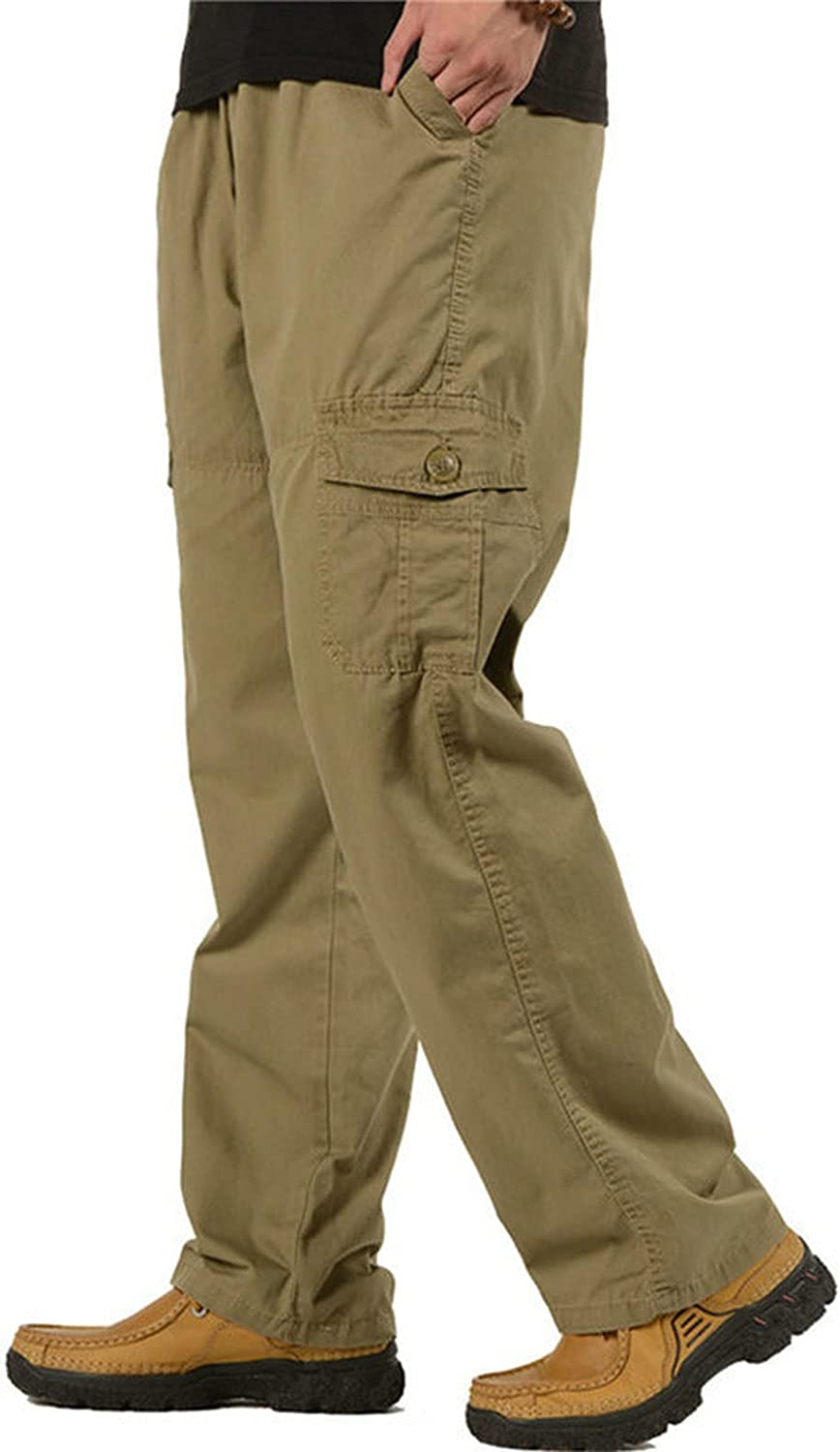 Raroauf Men's Full Elastic Waist Casual Cargo Pants Relaxed Fit Lightweight Pull On Work Pant