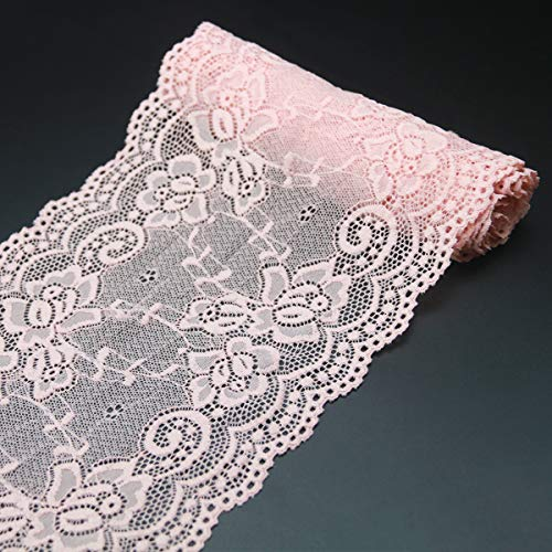 7' Wide Lace Fabric Sewing Lace Ribbon Trim Elastic Stretchy Lace for Crafting 5 Yard Pink