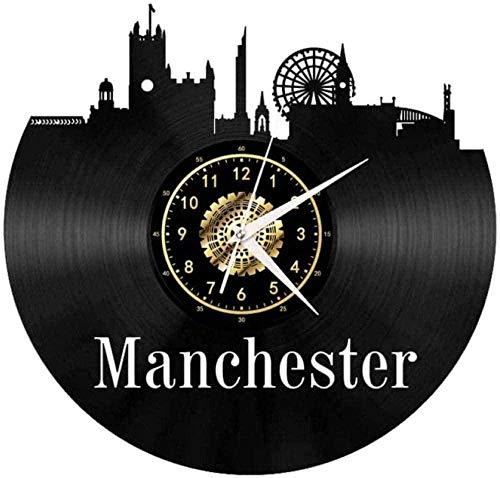 Reloj de Pared de Vinilo Creativo 3D Reloj de Pared de Vinilo Retro Reloj Colgante de Manchester Regalo-Sin LED