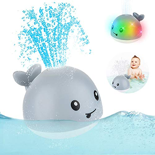 2020 Updated Baby Bath Toys, Light Up Bath Toys with LED Light, Sprinkler Bathtub Toys for Toddlers Infant Kids Boys Girls, Whale Spray Water Bath Toy, Bathtub Shower Pool Bathroom Toy for Baby