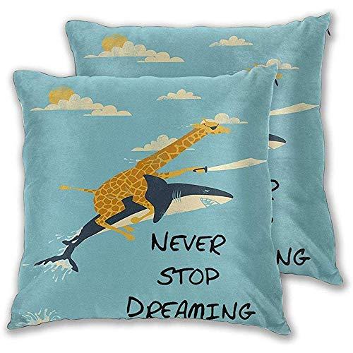 Fodera per cuscino giraffa Giraffa Squalo Non smettere mai di sognare Decorazione domestica Federe per cuscini morbidi per divano/divano/auto/letto 45X45 cm