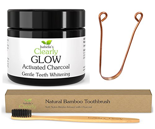 Isabella's Clearly Teeth Whitening Kit - GLOW Carbone Attivo 20g + Spazzolino Ultra Soft BAMBOO + Raschietto per lingua COPPER. Naturale, commestibile, non OGM.