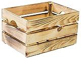 Aufbewahrungsbox Gemüsekiste Stapelkiste Stapelbox Holzkiste Weinkiste Obstkiste nachhaltig FSC zertifiziert (40x30x23cm, Geflammt)