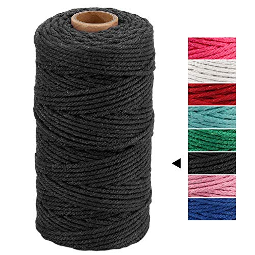 DIY Home Textile Decorative Green, 3mm /& 328 Feet Ialwiyo 3mm 328ft 4 Strand Softer Colorful Cotton Macrame Cord Rope| Twisted Craft Macrame String Wall Hanging Plant Hanger Craft Making Supply