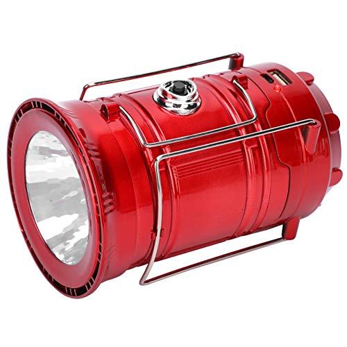 DAUERHAFT Linterna LED Solar para Tienda de campañaLight Durable LED para Tienda de campaña Luz LED Solar para Tienda de campaña Luz USB para Tienda de campaña retráctil Portátil para(Red)