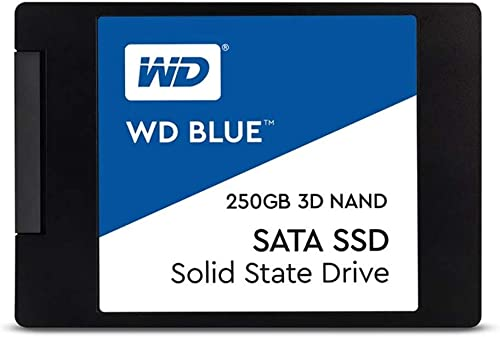 "Western Digital WDS250G2B0A 2.5"" 250GB SSD Blue SATA3 6Gbs, 3D NAND, Read 550MB/s, Write 525MB/s, 176K IOPS, 5 Years ..."