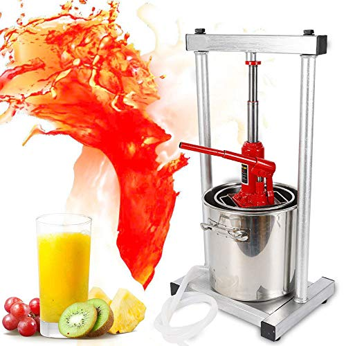 Wine Juicer, Stainless Steel Fruit Wine Juice Press Cheese Making Press with Hydraulic Jack Aid For wine/cider making Fruit Crusher US