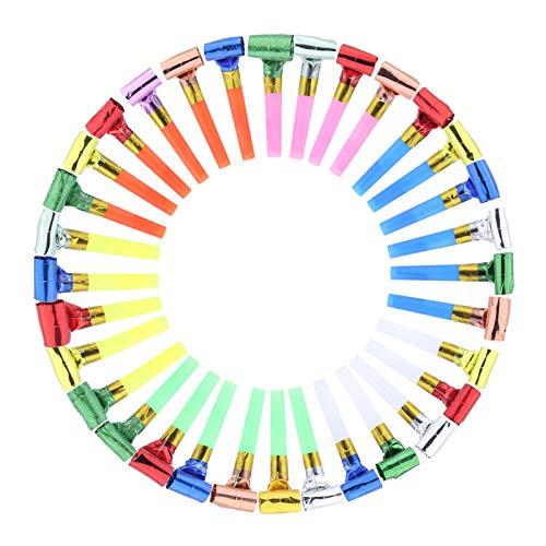 Siumir Partie Blowout Whistle Toys Party Favors Plastique Papier Blowouts 100 PCS Drôle Sifflets Cadeaux