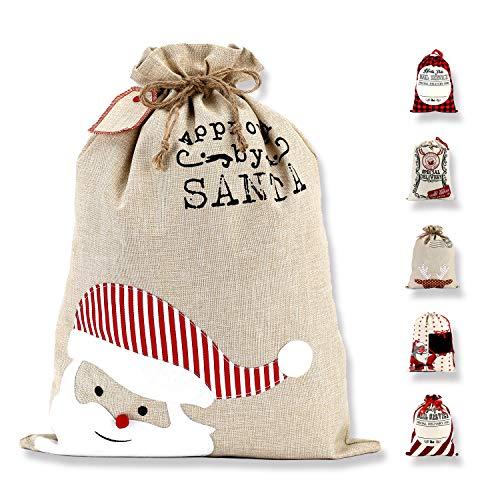 LessMo Großer Santa Weihnachtssack, Weihnachten Tasche Weihnachtsmannsack mit Kordelzug, [Ort zum Schreiben von Wünschen] Santa Sack Xmas Geschenk Packtaschen für Weihnachtsfeier Dekoration, Roter Hut