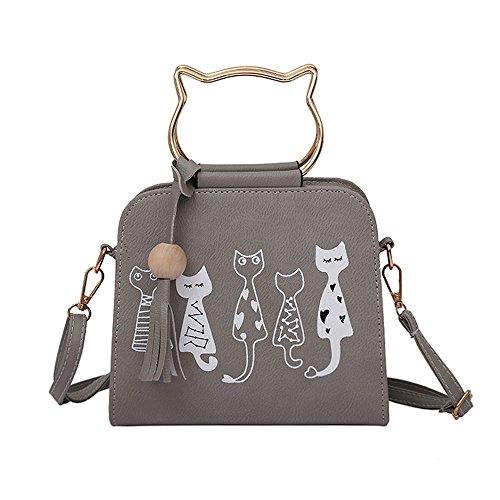 TIFIY Damen Mädchen Niedlich Kätzchen Katze Muster Quasten Katze Geformt Halter Schultertasche Handtasche (Grau)
