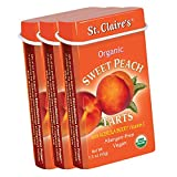 St. Claire's Organic Fruit Tart Candies, (Sweet Peach, 1.5 Ounce Tin, Bundle of 3) | Gluten-Free, Vegan, GMO-Free, Plant-based, Allergen-Free | Made in the USA in a Dedicated Allergen-Free Facility