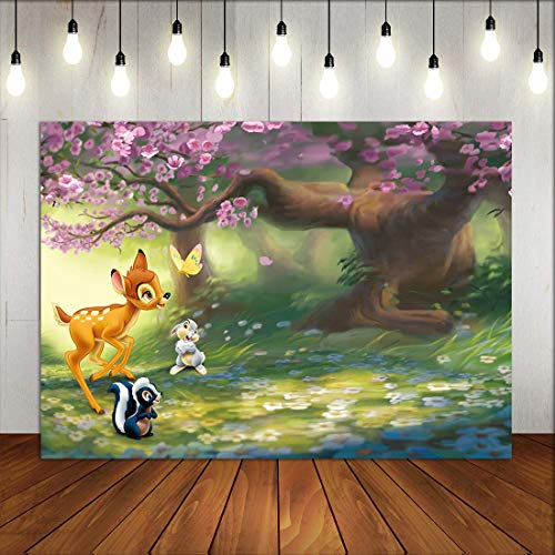 Cute Forest Animals Beautiful Scene Photo Background Cartoon Bunny Deer Photography Backdrop for Baby Shower Birthday Party Supplies Kids Room Decor Poster Photo Booth Props Banner Vinyl 5x3ft