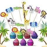 FORMIZON 42 Piezas Animales Cupcake Toppers, Animal Cake Toppers Decoraciones, Lindo Selva Temática Animales En Forma de Pastel Toppers para Niños Cumpleaños, Baby Shower Party Favor Suministros