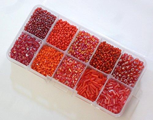 Rocailles Perlen 2mm 3mm 4mm 6mm Rot Set Stift Silbereinzug Matt mit Perlenbox 200g AM1