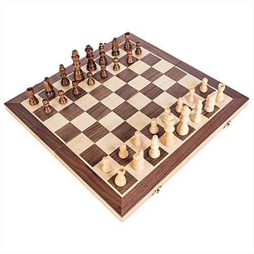 DTNSSTB Faltbares Holzschachspiel Großes Internationales Schachunterhaltungsschachspiel Für Kinder Und Erwachsene (40x40x3cm)