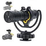 Deity V-Mic D4 Duo Shotgun Microphone, dual capsula mini microfoni con doppia fotocamera mono/stereo, microfono Plug and Play con supporto Rycote Shockmount per DSLR, videocamere, smartphone