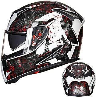 XuBa Men Full-Face Coverage Motorcycle Helmets Flip-up Dual Lenses Antifogging Motorbike Riding Helmet Bright White/Wind XXL