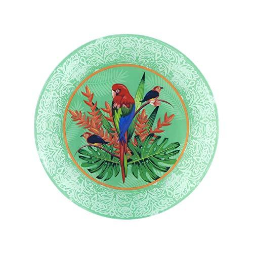 Plato Redondo Multicolor Decorativo de Cristal 'Loro' Vajillas y Cuberterías. Decoración Hogar. Centros de Mesa. Regalos Originales. 31,50 x 31,50 x 2,50 cm