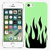 [TeleSkins] - iPhone 5 / 5S / SE Case - Neon Flame Green Designer Case - Ultra Durable Slim Fit, Protective Soft Plastic Snap On Back Cover