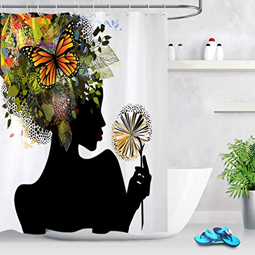 LB African American Black Girl Shower Curtains Futuristic Design Nature Harmony Woman with Butterfly