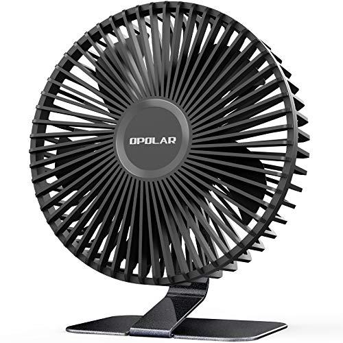 OPOLAR Ventilador de Escritorio USB de 15,2 cm con Flujo de Aire Fuerte Mejorado, 4 Velocidades, Silencioso Ventilador de Mesa de Oficina, Angulo Ajustable de 90°, Cable de 1,5 m, Color Negro