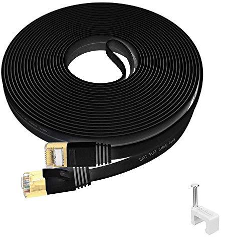 IKBC CAT 7 Netzwerkkabel 10m Gigabit Ethernet Lan Kabel 10 meter Hochgeschwindigkeits RJ45 Patchkabel, Flaches wlan kabel für Router, Modem, Switch, PS4, XBOX