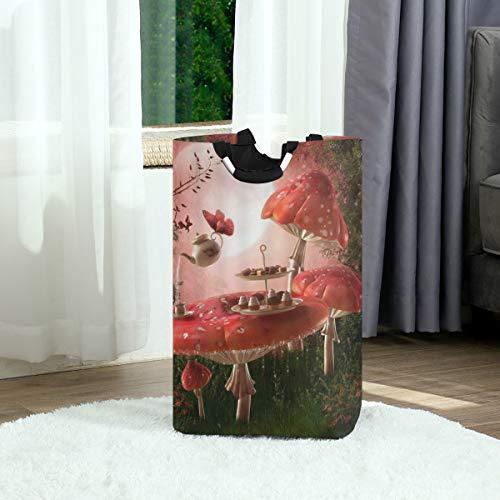 ZOANEN Wäschesack,Märchen Pavillon Retro bunte Pavillon hängende Laternen Wiese Blumen Frühling Natur Landschaft,Großer faltbarer Wäschekorb,zusammenklappbarer Wäschekorb