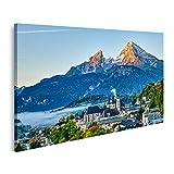Bild auf Leinwand Berg watzmann Stadt berchtesgaden