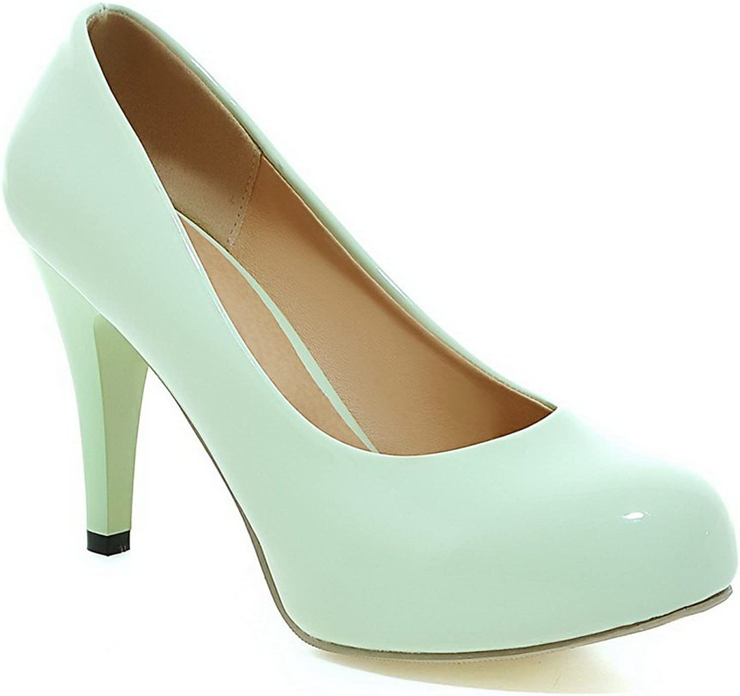 BalaMasa Girls Low-Cut Uppers Pull-On Round Toe Patent Leather Pumps-shoes
