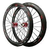 700C Bicicleta de Carretera Ruedas,24 Hoyos Cuchillo Carbono Fibra de Carbono 4 Cojinetes Rueda para Bicicletas Ruedas de Carretera con Freno Disco (Color : 55mm, Size : Black hub)