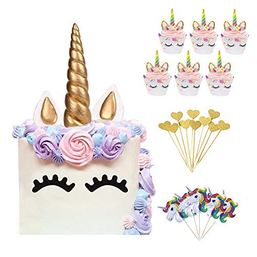 64pcs Unicorn Birthday Cake Topper Set, Cupcake Topper Doble Sided, Party Supplies Cake...