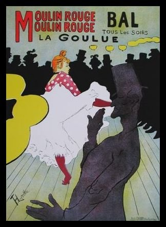 Germanposters Henri Toulouse-Lautrec Poster Kunstdruck Bild Moulin Rouge im Alu Rahmen in schwarz 77x62cm