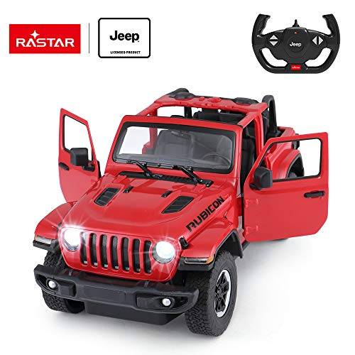 Jeep Off-Road Remote Control Car, 1:14 Jeep Wrangler JL RC Off-Road Racing Vehicle Toy Car for Kids Adults, Spring Suspension/Door Open, 2.4Ghz RED