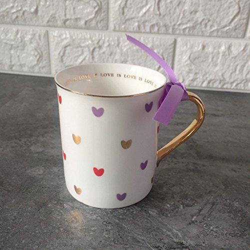 Ldhome Violet Rose Fille Amour Saint Valentin Mug Tasseen Verre De l'eau Café Tasse De Lait Latte Thé Noir Tasse Latte 300Ml Peach Purple Heart