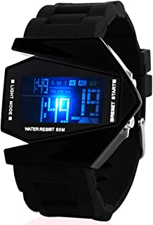 Unisex Elegant Plane Style Digital Display Waterproof Outdoor Sports Silicone Strap LED Wrist Watch