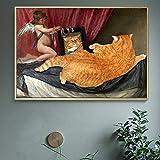 N / A Pintura sin Marco Cartel Retro Gato Gordo Animal Pintura Mural Lienzo Pintura ángel Pintura al óleo Mural decoración ZGQ6742 50x75cm