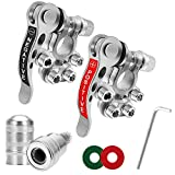 Battery Terminal Clamp Connectors, 2Pcs 4 Way Positive Negative Car Battery Terminals Connector Quick Release Disconnect for SAE/JIS Type A Posts (Silver)