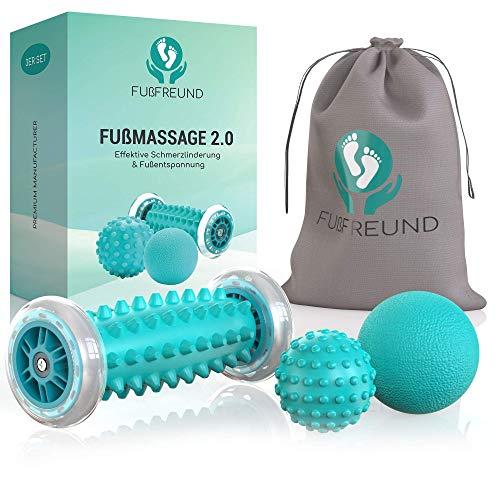 FUßFREUND© Premium Fußmassagegerät Fußmassage Roller [3er Set] - Verbessertes Konzept 2020 - Innovativer Fußmassageroller Fuß Igelball zur Stressreduzierung und Entspannung - Massage Ball Fußroller